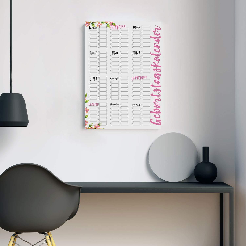 die ganze Familie I dv/_298 Frauen Geburtstagskalender in rosa I DIN A3 I Dauerkalender jahresunabh/ängig I Wandkalender f/ür M/ädchen WG