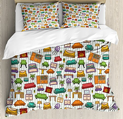 Doodle King Size Duvet Cover Set by Ambesonne, Various Home Interior Elements Armchair Table Mirror Design Elements Doodle Style, Decorative 3 Piece Bedding Set with 2 Pillow Shams, Multicolor by Ambesonne