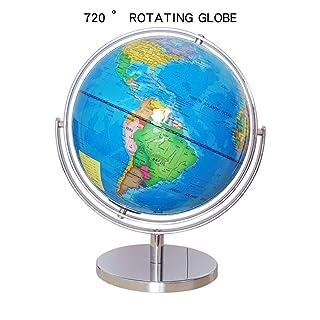 Wanlianer Globo Supporti per l'insegnamento Universal Rotation Globe Rotating Tabletop Globe 25 Cm
