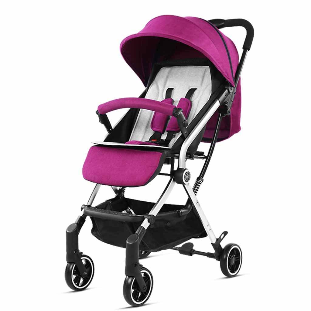 JIANXIN 赤ちゃんのベビーカーは、赤ちゃんの傘の後ろに座ることができ、高ビューのトロリーを折り畳むことができます。 (色 : Purple)   B07F7RYYLC