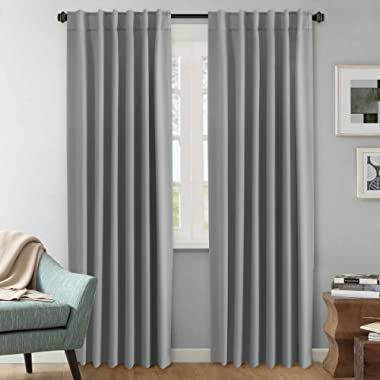 H.VERSAILTEX (Set of 2) Blackout Room Darkening Curtains Window Treatment Grey Panels - Rod Pocket Blackout Curtains for Living Room, W52 x L84