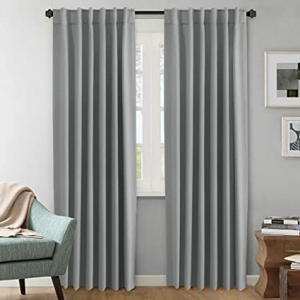Black Room Darkening Curtains.H Versailtex Set Of 2 Blackout Room Darkening Curtains Window Treatment Grey Panels Rod Pocket Blackout Curtains For Living Room W52 X L84
