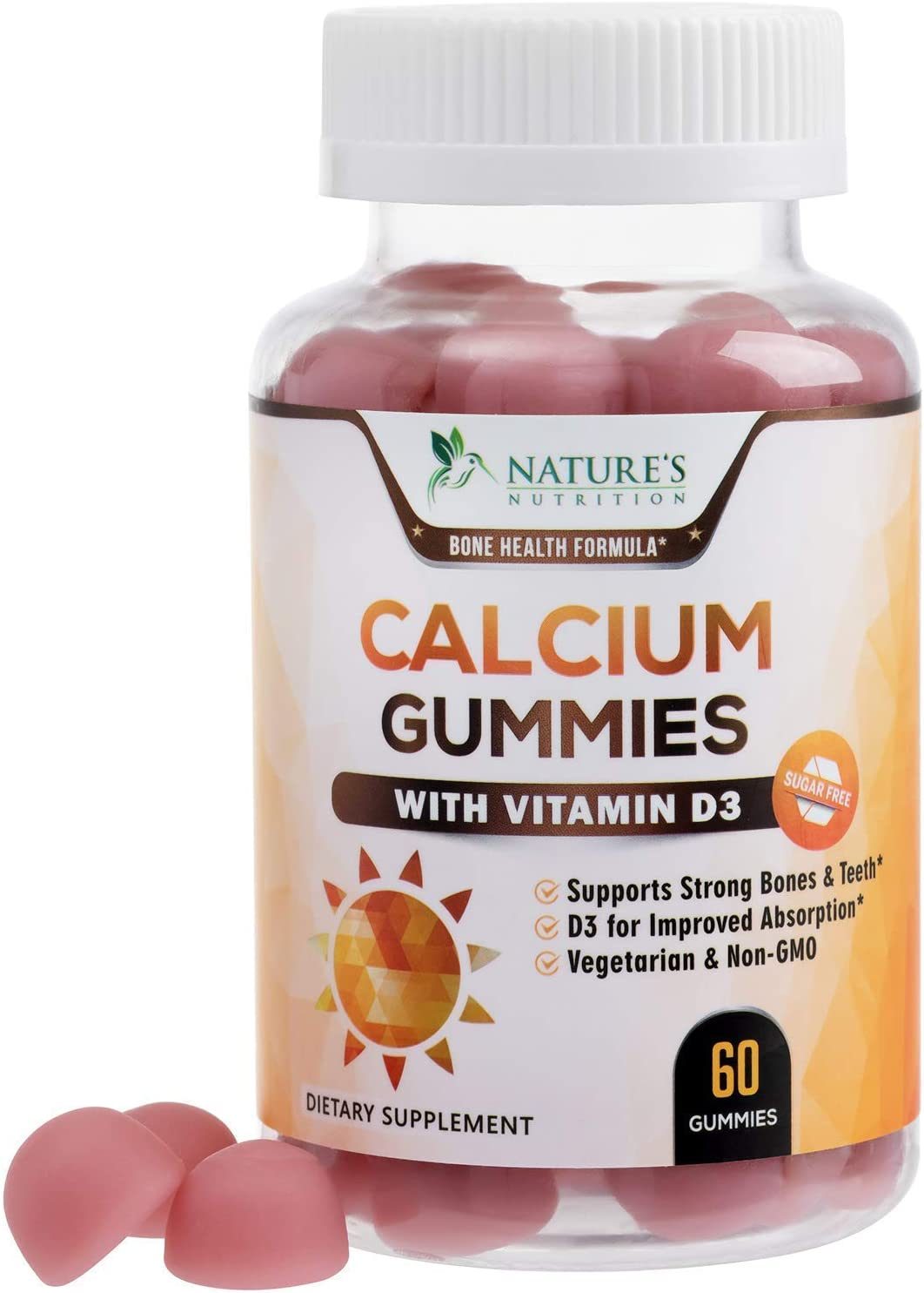 Sugar Free Calcium Gummies with Vitamin D3 - Supports Healthy Bones and Teeth - Highly Concentrated Calcium and Vitamin D Gummy Chews for Men and Women, Non-GMO - 60 Gummies