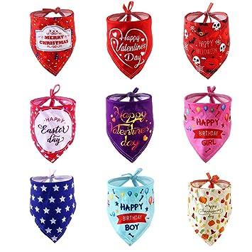 Petyoung Paquete de 9 pañuelos para Perros para cumpleaños y ...