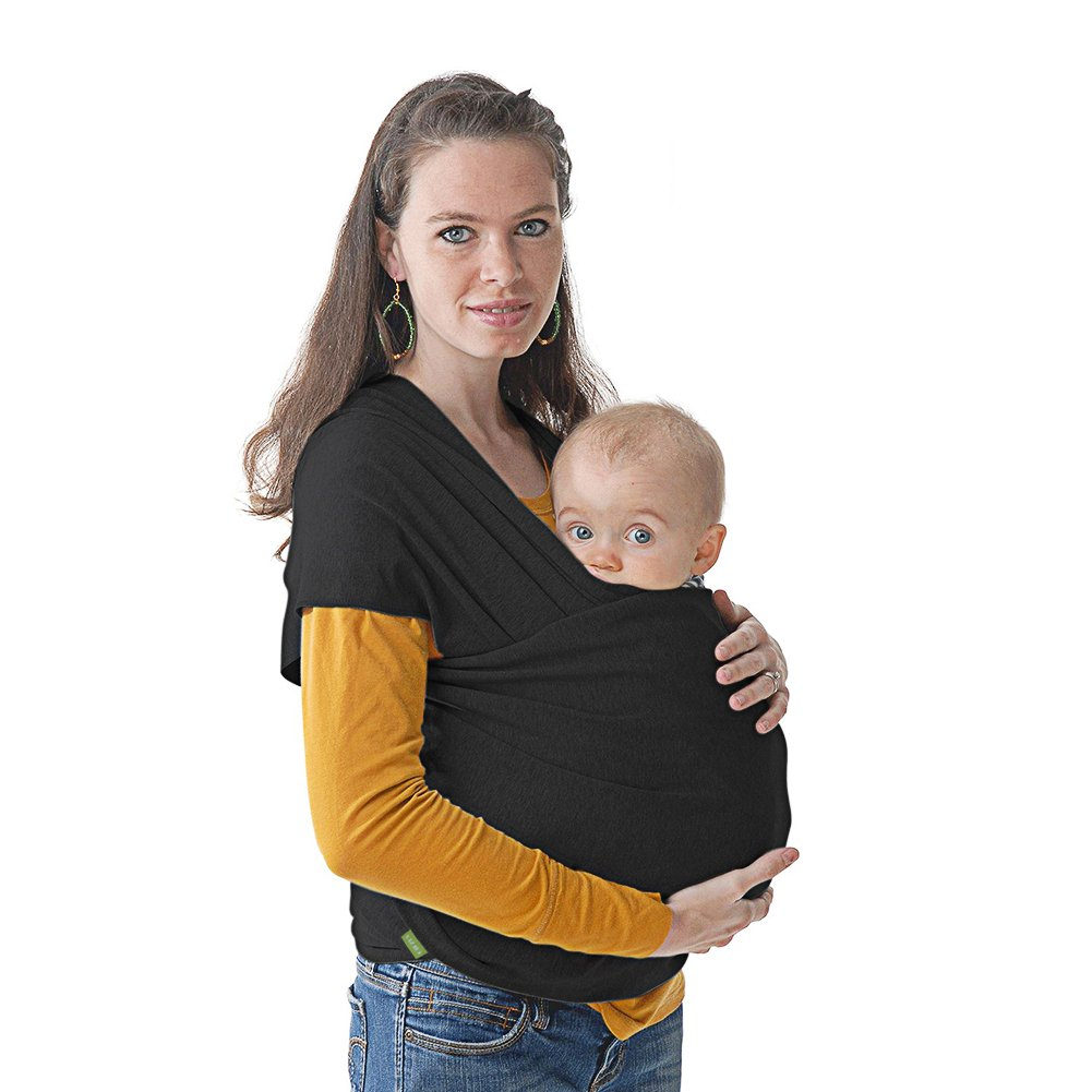 WISTIC Baby Wrap Carrier All-in-1 Stretchy Baby Wrap Lightweight Baby Sling Carrier Wrap Hands Free Infant Carrier Wearing Wraps Soft Comfortable & Breathable Kids Newborn Carrying Pouch (Grey)