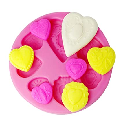 9f37874eff Image Unavailable. Image not available for. Color  FOUR-C 3D Embossing Mold  Hearts Silicone Cup Cake Mould Color Pink