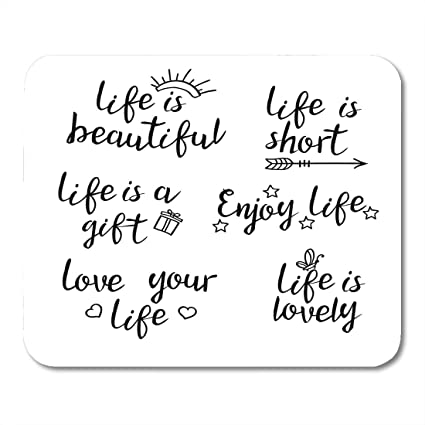 Amazon Com Nakamela Mouse Pads Lettering Life Quotes Calligraphy