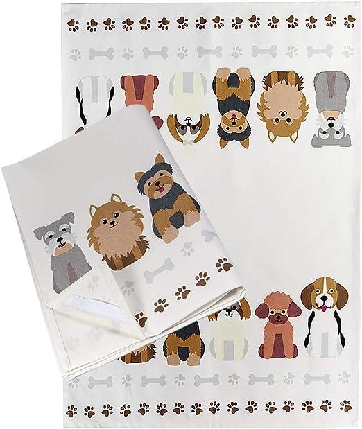 Paños de Cocina Algodón 100% 50 x 70 cm, Juego de 2, con un Diseño de Perros, para los Amantes de los Perros y Animales: Amazon.es: Hogar