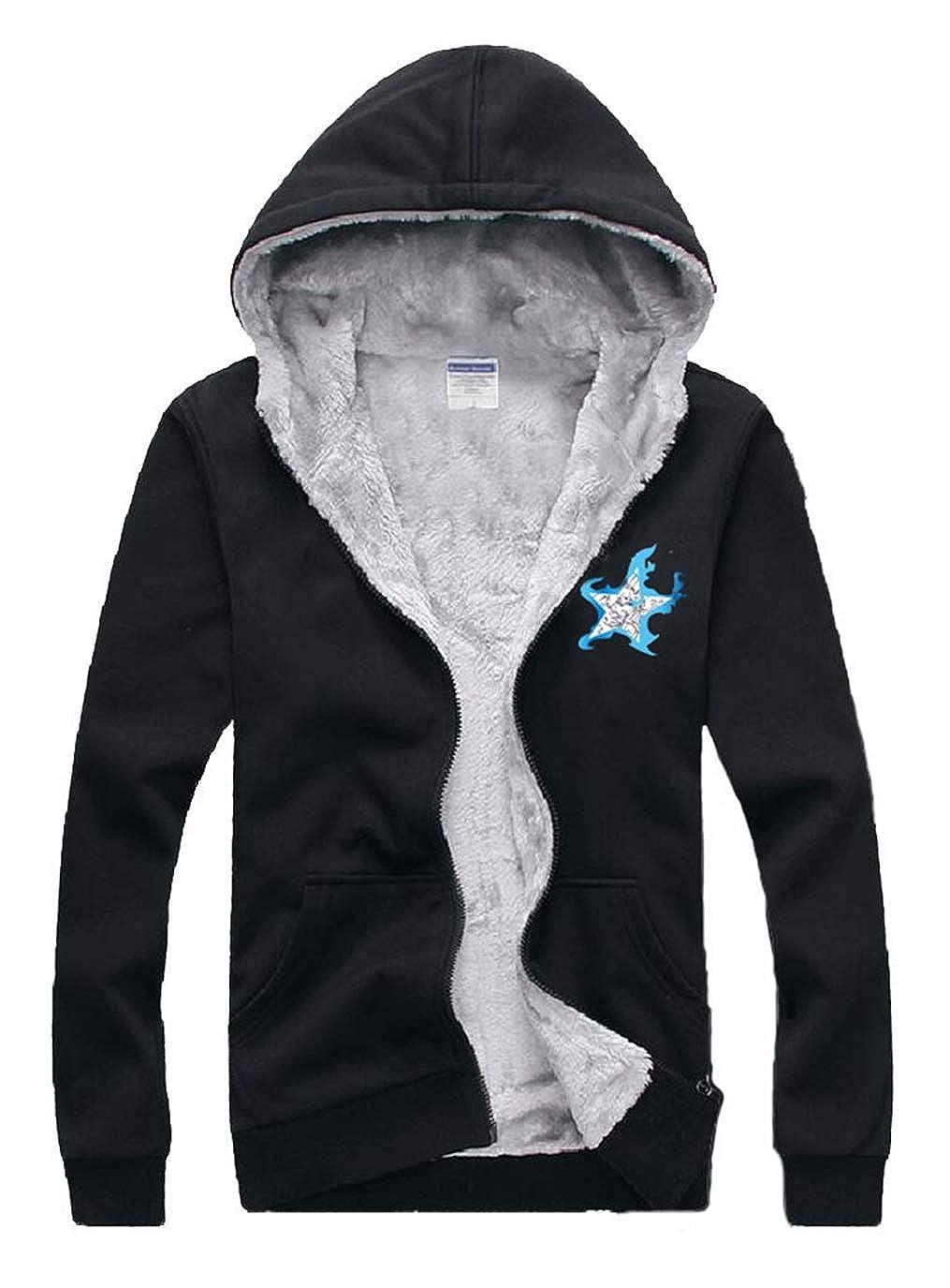 Schwarz 1 5XL Cosstars schwarz Rock Shooter Anime Unisex Reißverschluss Kapuzenpul r Winter Verdicken Warm Hoodie