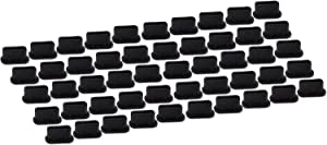 PortPlugs USB C Plug Covers (50 Pack) Silicone Dust Plugs, Compatible with Samsung s20, s10, s9, s8, Note 9, 10, Pixel, Any Type C Port on Smartphone or Laptop (Black)