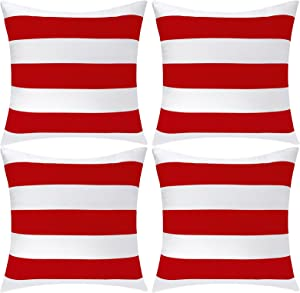 Aneco Pack of 4 Waterproof Pillow Covers Outdoor Throw Pillowcases Square Garden Cushion Case for Home, Garden, Patio, Red, 18 x 18 Inches