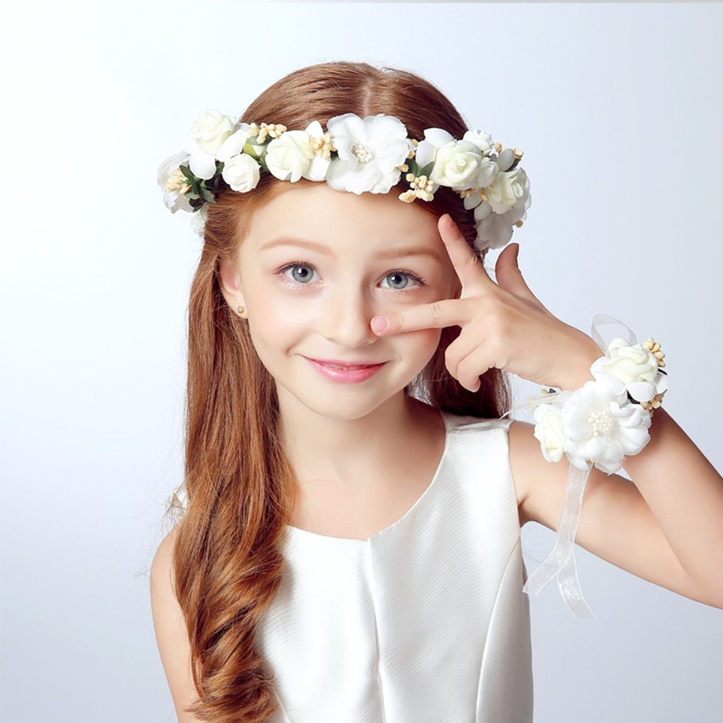 Wreath Child Flower, Headband Flower Garland Handmade Wedding Bride Party Ribbon Headband Wristband Hairband -Pink/White (Color : White)