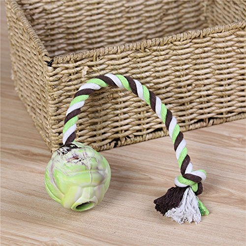 low-cost EETOYS Dog Chew Toys Ball with Rope Interactive Puppy Teething Toy For Aggressive Chewers