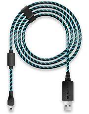Lioncast Ladekabel / USB-Kabel /Controllerkabel für Controller der PS4 und Xbox One, Xbox One X, 4m schwarz/blau Micro-USB