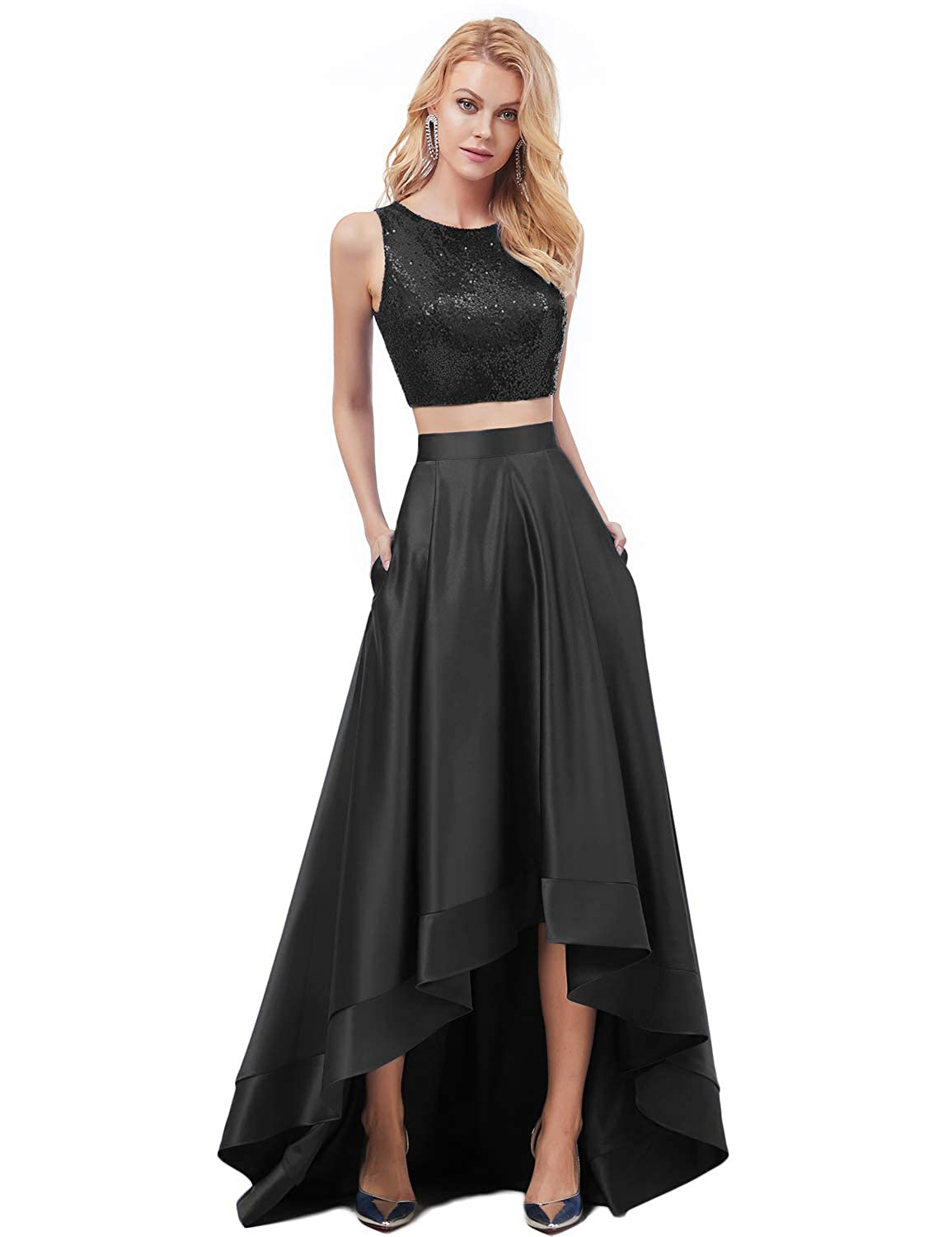 Black YSMei Womens Two Piece Sequin Bodice High Low Satin Evening Prom Dress ON039