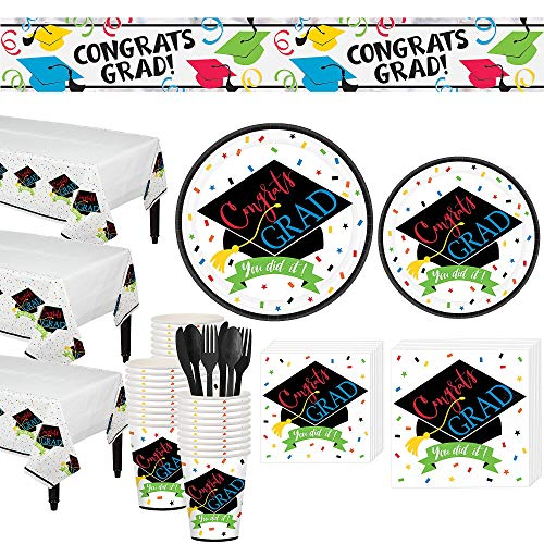 Party City You Did It Grad Grand Tableware Kit for 100 Guests, Includes Plates, Napkins, Utensils, and Table Covers