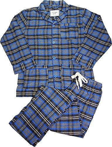 B O P J - Mens Long Sleeve 2 Piece Plaid Flannel Pajamas, Charcoal, Blue 39662-Small