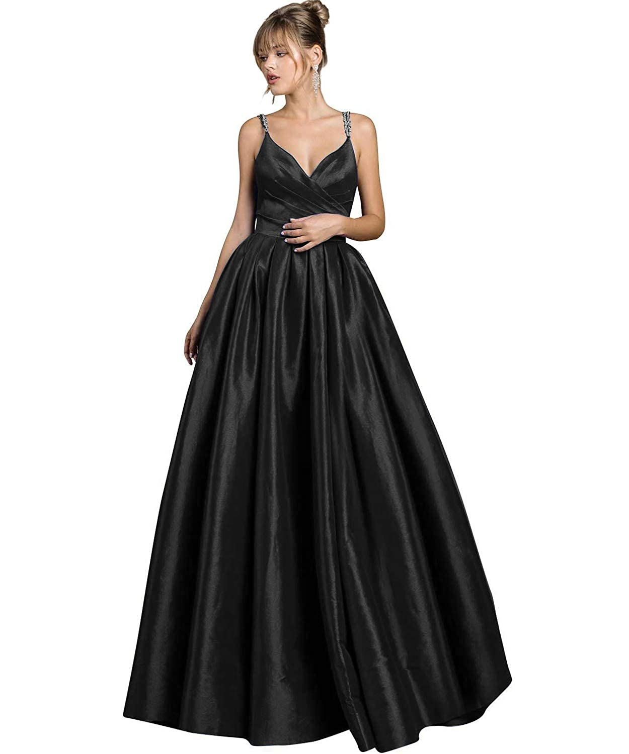 Black Yilis Women's Beaded Spaghetti Straps V Neck Satin Aline Evening Prom Dress Long Formal Gown with Pockets