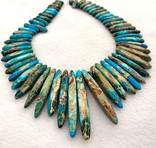perial Jasper gemstone 20-60mm teeth spikes pointed Imperial Jasper necklace blue Green Gold beads full strand 17