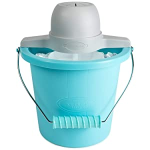 Ice cream,yogurt maker-Nostalgia Electrics 4-Quart Blue Bucket Electric Ice Cream Maker-Ice Cream Machine-Fill The The Electric Motor Do The Churning For You-Ice Cream Maker-Guarenteed!