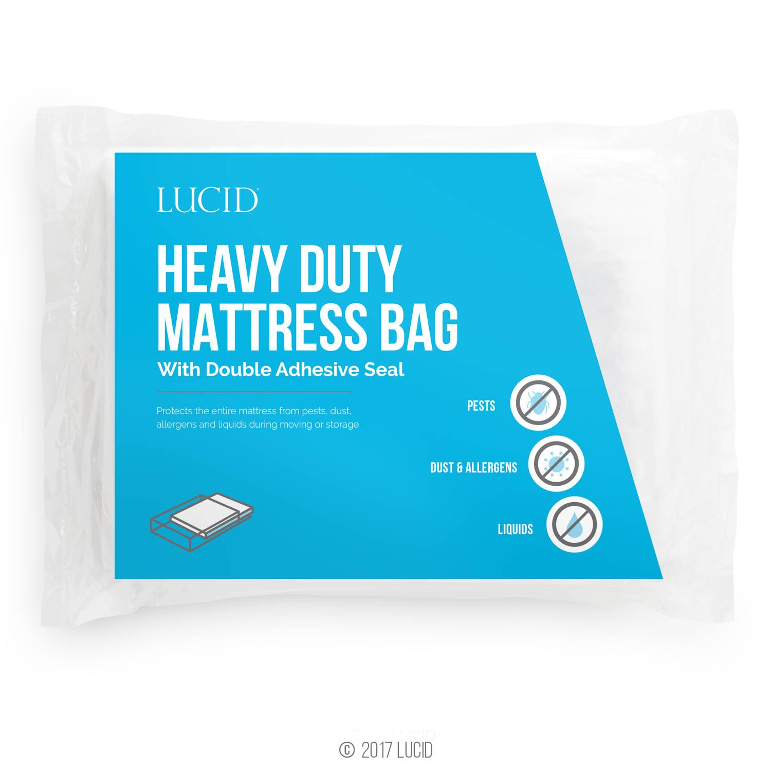 LUCID Heavy Duty 3 mil Mattress Bag with Double Adhesive Closure - Sealable Cover for Moving and Storage - Twin LU01TXMB
