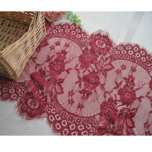 Dress Edge Lace Trim Fabric Ribbon Rose Design Pure Cotton Embroidered Mesh Lace (Red wine)