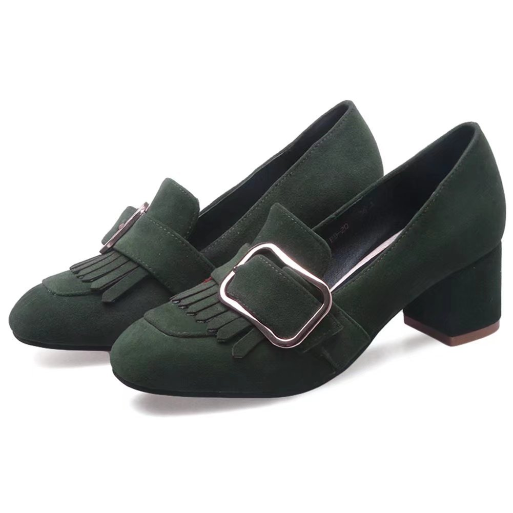 KingRover Womens Chunky High Heel Metal Decoration Faux Suede Dress Slip-On Loafer