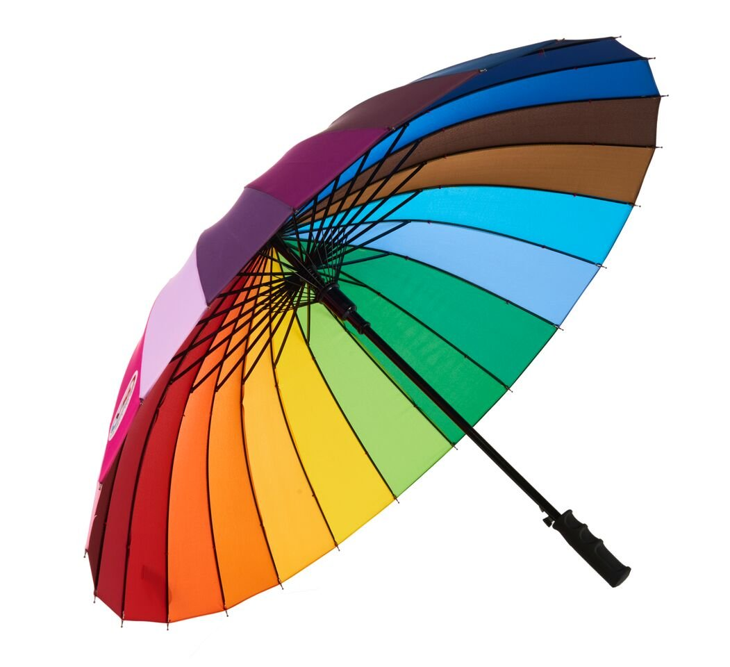 Variety To Go Rainbow Umbrella Large, 24 Ribs Rainbow Umbrella, Rainbow Umbrella for Girls,Men and Women (Straight Handle)