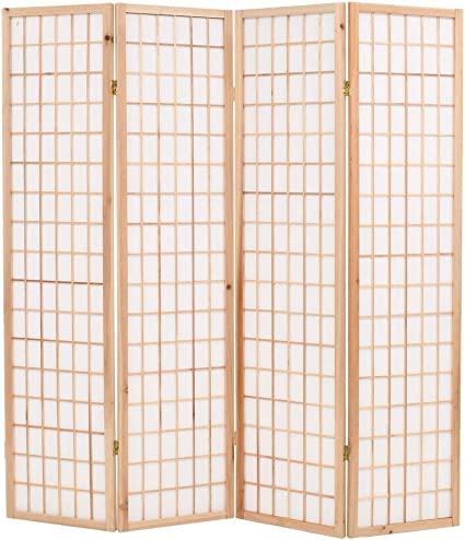 Vidaxl Folding 5 Panel Room Divider Japanese Style 200x170cm Natural Paravent Amazon Co Uk Kitchen Home