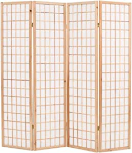 """Folding 4-Panel Room Divider Japanese Style 63""""x66.9"""" Natural"""
