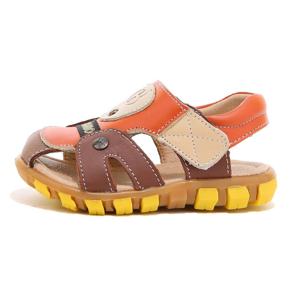 HOBIBEAR Boy's Girl' Brown/Orange Closed-Toe Leather Sport Sandal(Toddler/Little Kid) by HOBIBEAR (Image #2)