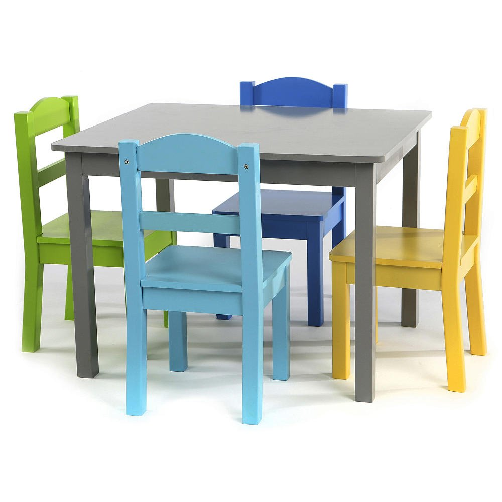 Amazon.com: Elements Wood Table and 4 Colored Chairs Set GUARANTEED ...