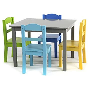 Elements Wood Table And 4 Colored Chairs Set GUARANTEED QUALITY