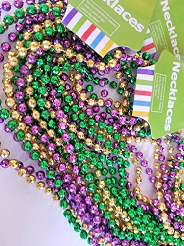 """OTC Faceted Mardi Gras Beads Metallic Purple Gold Green Shiny High Gloss Party Favor Costume Accessory Fat Tuesday Parade Toss, 33"""" long Necklace with 6 mm Jewel, 1 dozen assorted per (Jewel Bead Necklace)"""