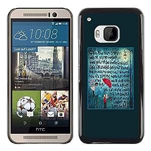 FECELL CITY // Duro Aluminio Pegatina PC Caso decorativo Funda Carcasa de Protección para HTC One M9 // Teal Umbrella Love Text Quote