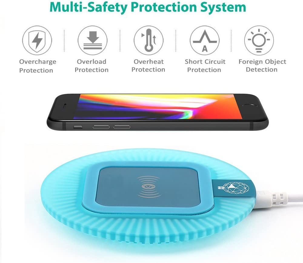 Antye Wireless Charger Sleep-Friendly Qi Wireless Charging Pad Stand Anti-Slip Rubber Base Compatible for iPhone X 8 8 Plus,Samsung Galaxy Note 8 S9 S8 Plus S6 S7 Edge Plus,Nexus 4 5 6 Blue, Round