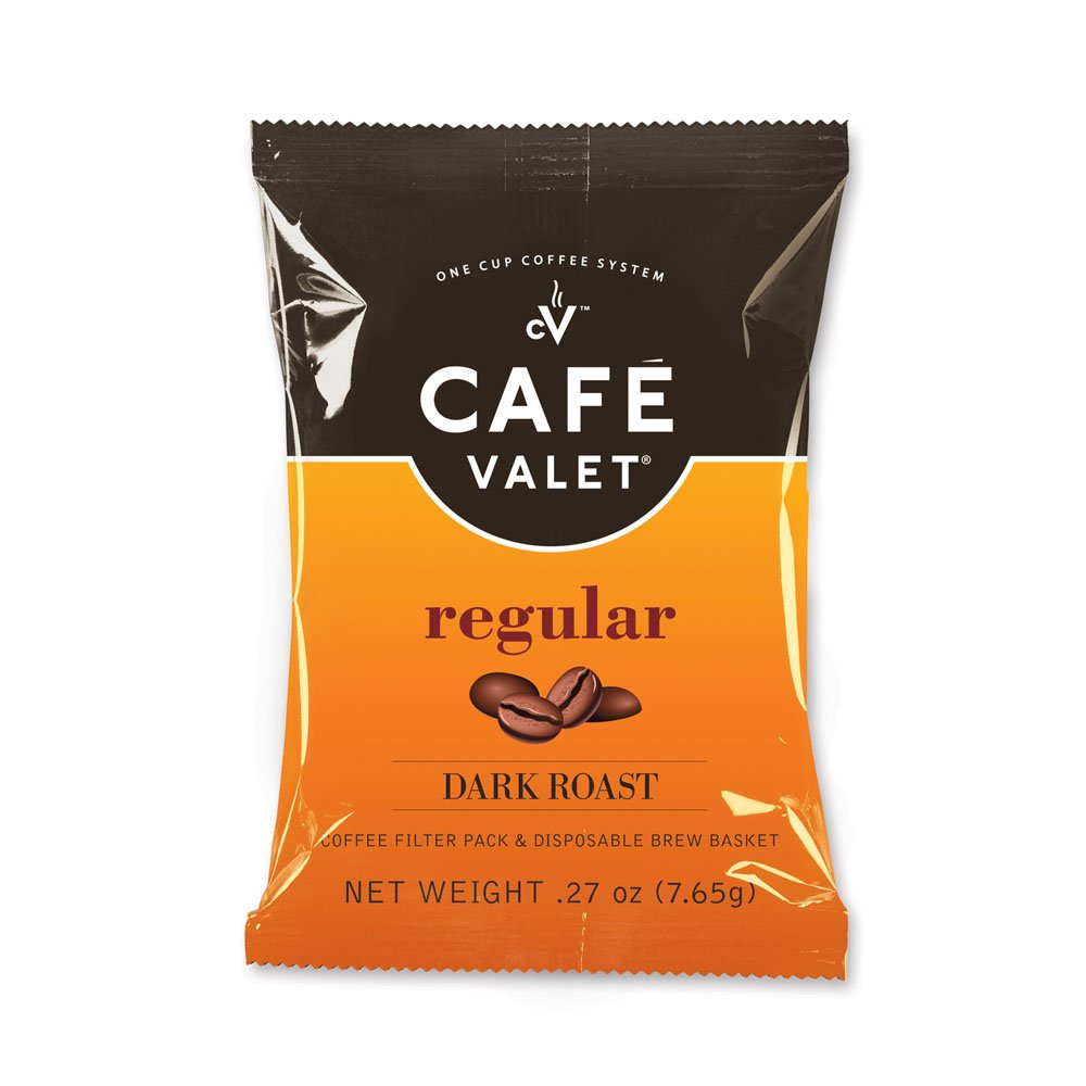 Cafe Valet Single Serve Individually Wrapped Coffee Packs, Regular Dark Roast 100% Arabica Coffee, Original, 84 Count