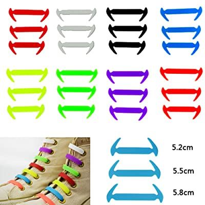 Alonea 12Pcs Novelty Unisex Tie Shoelaces Silicone Elastic Sneaker Lazy Shoes Laces