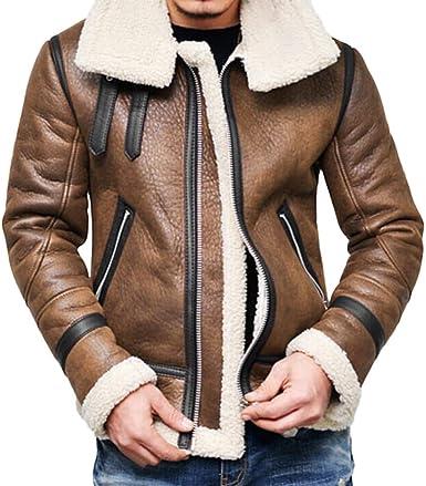 amazon chaquetas de invierno piel hombre