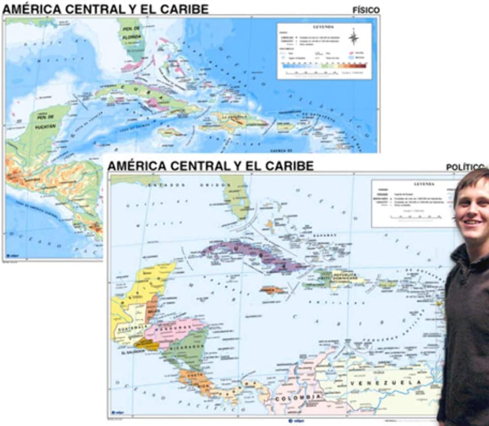 Amazon Com Central America Map In Spanish Wall Maps Office Products