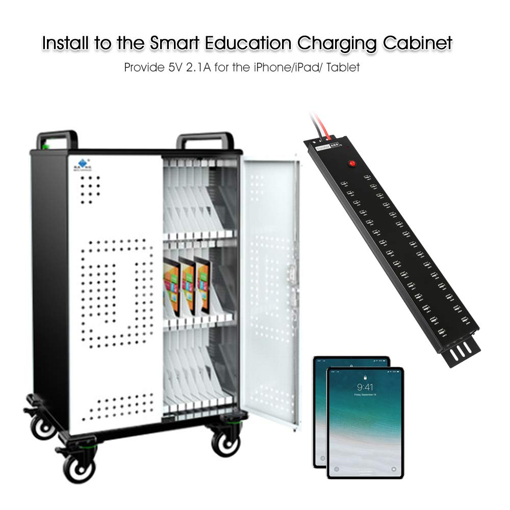 USB Charger Sipolar USB 2.0 Hub 30 Ports with 300W Power Supply USB Charging Station 2A Charging for 30 Tablets by Sipolar (Image #3)