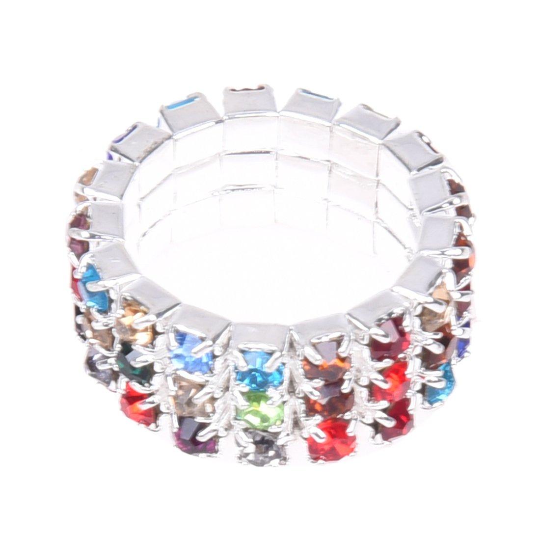 SODIAL(R) 9mm Elastic Multicolor 3 Row Rhinestone Toe Ring Bridal Jewelry