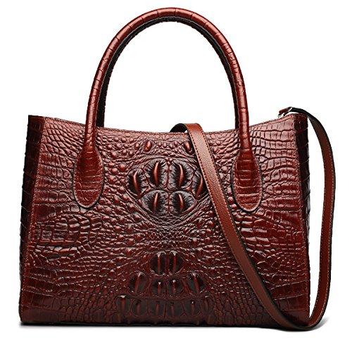 (ZOOLER GLOBAL Genuine Leather Handbag Purses for Women Crocodile Embrossed Red )