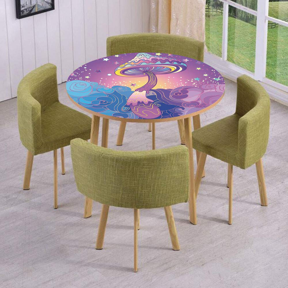 Round Table/Wall/Floor Decal Strikers/Removable/Magic Mushrooms Psychedelic Hallucination Vibrant 60s Style Hippie/for Living Room/Kitchens/Office Decoration