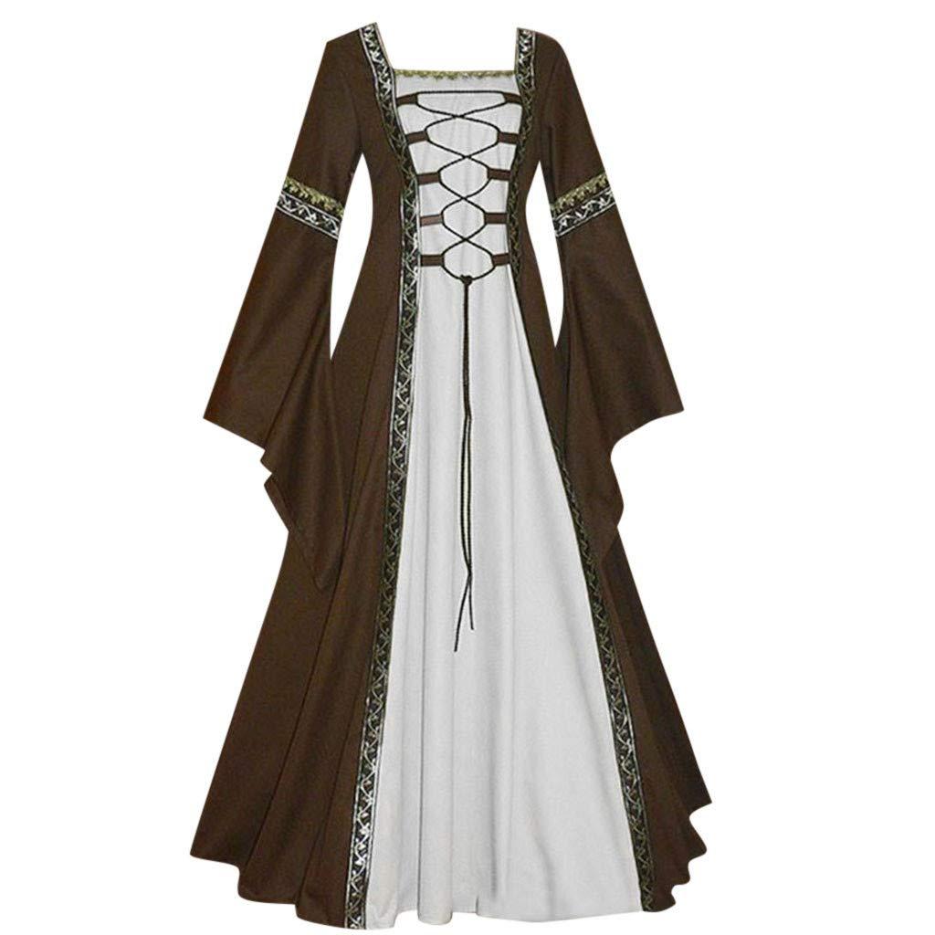 Khaki HIKO23 Women's Vintage Celtic Medieval Floor Length Renaissance Gothic Cosplay Dress