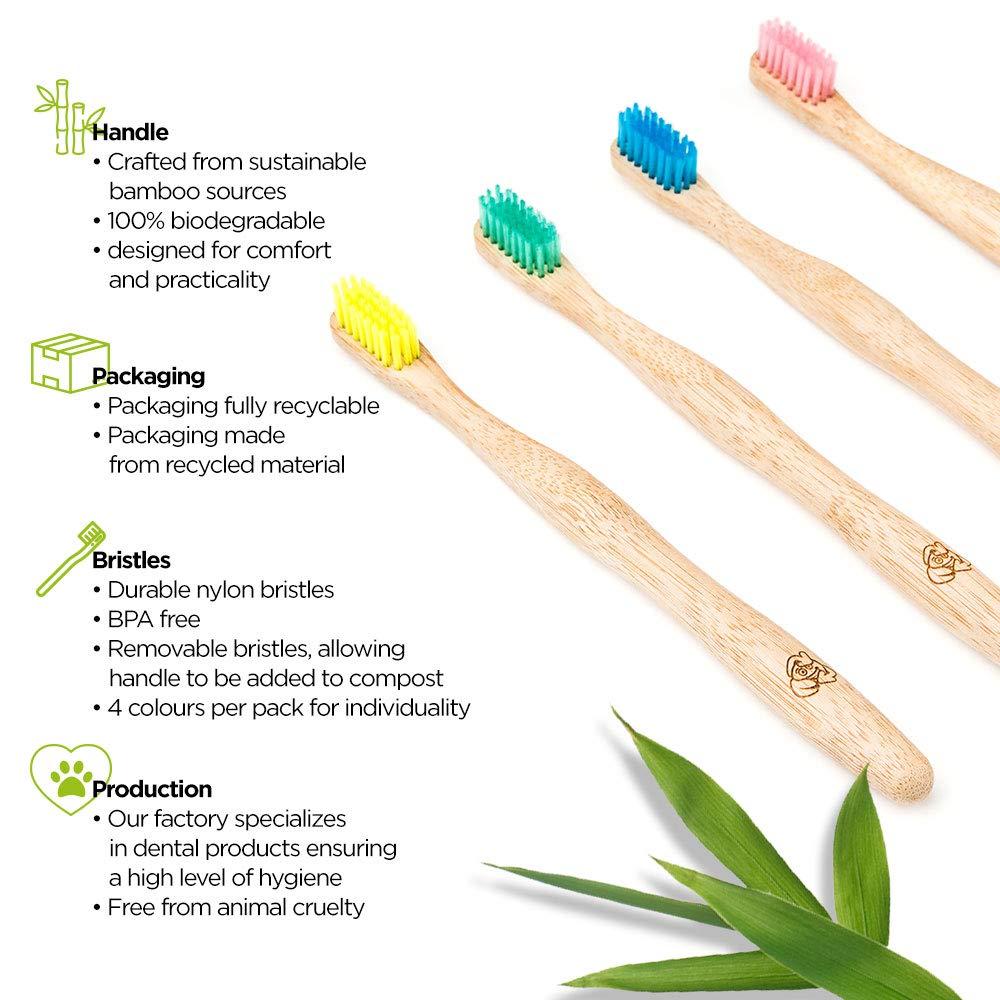 Cepillos de dientes de bambú de Smile by Nature | Cepillo de dientes de bambú ecológico natural y vegano con beneficios biodegradables y reciclables ...
