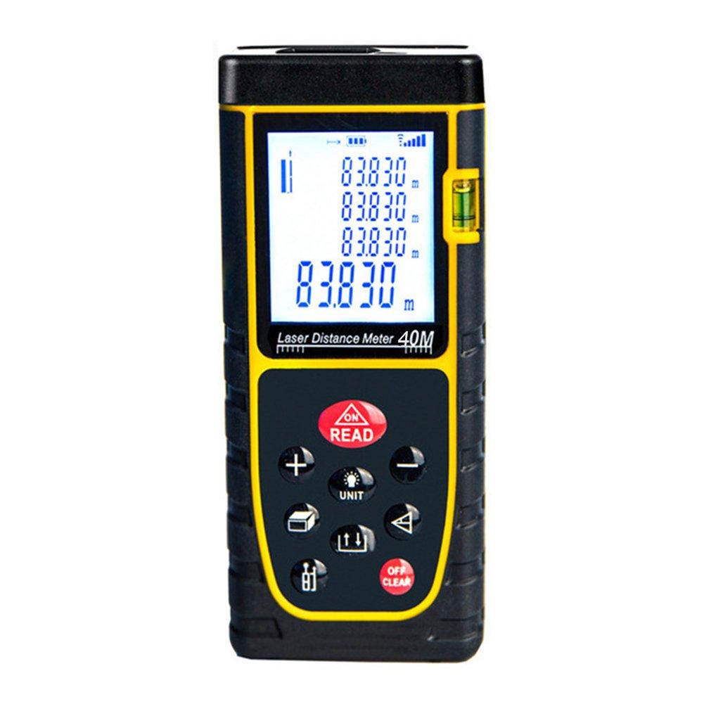 GEZICHTA Tragbar Entfernungsmesser Gerät, 40m praktischer Handheld Entfernungsmesser Digital Measure Tool Entfernungsmesser mit Großem Backlit LCD 4Zeilen Display für Abstand, Fläche und Volumen Fläche und Volumen gelb