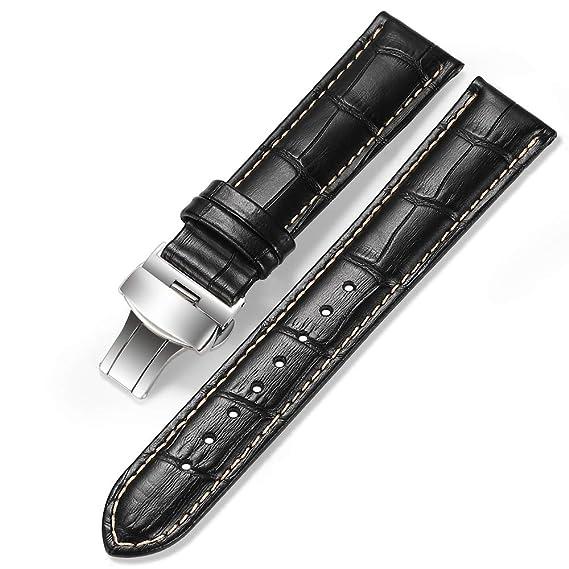 2ecd10f09 iStrap 20mm Alligator Grain Cow Leather Watch Band Strap W/Butterfly  Deployment Buckle Black 20