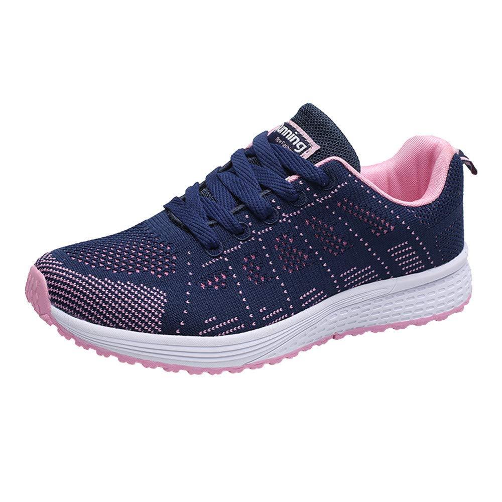 JiaMeng Zapatillas Deportivas de Mujer Gimnasia Sneakers Moda Malla Redondas Correas Cruzadas Zapatillas de Deporte Planas Zapatillas Casuales Zapatos: ...