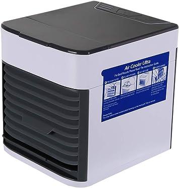 Chloefairy - Aire Acondicionado portátil con USB y Ventilador 3 en 1, Regulable, Aire Acondicionado, refrigerador, humidificador, purificador, 7 LED de Colores ...